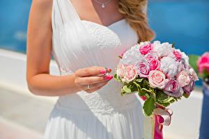 Обои Букеты Розы Свадьба Руки Кольцо Цветы