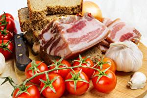 Картинки Хлеб Чеснок Томаты Сало Пища