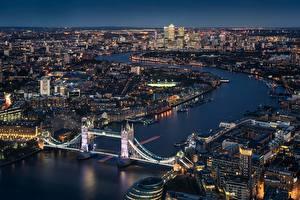 Фотографии Мосты Англия Речка Лондон Сверху Города