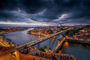 Фотография Мосты Вечер Портус Кале Португалия Реки Vila Nova de Gaia, Dom Luís I Bridge