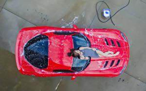 Фотография Шатенки Сверху девушка Автомобили