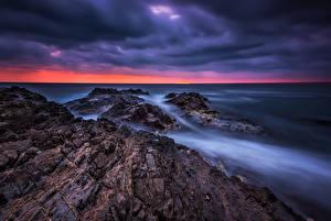 Фотография Болгария Берег Рассветы и закаты Море Black sea coast Природа