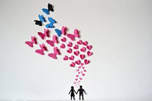 Картинка Бабочки Любовь Серый фон Оригами