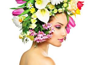 Фото Белокрыльник Тюльпаны Белый фон Лицо Мейкап Девушки