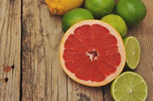 Картинки Цитрусовые Лимоны Грейпфрут Доски Продукты питания