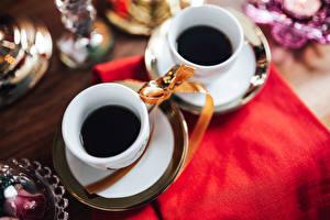 Обои Кофе 2 Чашка Бантик Еда