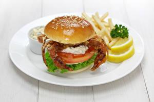 Картинки Крабы Овощи Гамбургер Доски Тарелка Еда