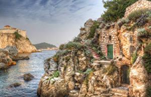 Обои Хорватия Дома Дубровник HDR Скалы Лестница Заливы Города