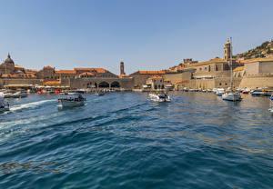 Фото Хорватия Здания Пирсы Катера Залив Dubrovnik Города