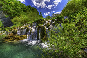 Фотография Хорватия Парки Водопады Мох Plitvice Lakes National Park