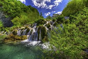 Фотография Хорватия Парки Водопады Мох Plitvice Lakes National Park Природа