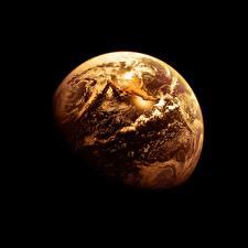 Картинка Земля На черном фоне