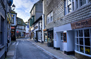 Фотография Англия Здания HDRI Улица Looe Cornwall