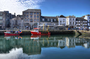 Фото Англия Дома Речка Причалы Речные суда HDR Barbican Plymouth Города