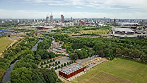 Картинки Англия Здания Река Парк Лондоне Мегаполис город