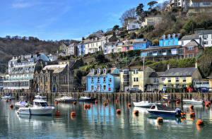 Фотографии Англия Речка Дома Причалы Катера HDRI Looe Cornwall город