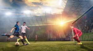 Фотографии Футбол Мужчины Вратарь в футболе Газон Спорт