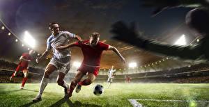 Картинка Футбол Мужчины Газон Мяч Спорт