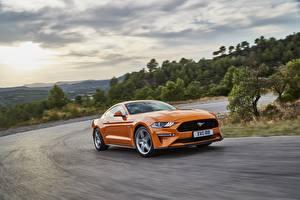 Картинка Форд Оранжевый Едущий 2018 Mustang GT 5.0