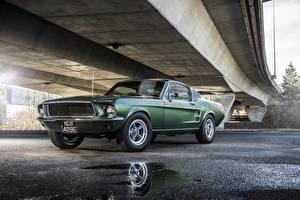 Фотографии Форд Зеленый Mustang 1968 GT 390 Bullitt Авто