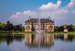 Фотография Германия Дрезден Парк Пруд Фонтаны Дворец Great Garden Города