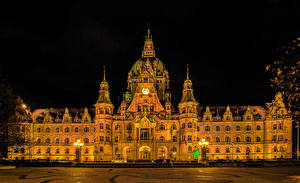 Фото Германия Дома Дизайн Ночные Уличные фонари Rathaus Hannover