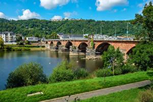 Фотографии Германия Здания Речка Мосты Trier
