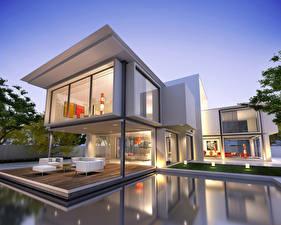 Картинки Дома Особняк Дизайн Плавательный бассейн Хай-тек стиль 3D Графика