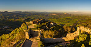Картинки Италия Сицилия Замки Руины Холмов Enna Природа