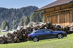 Фотографии Jaguar Синие Металлик Сбоку 2015 XE R-Sport AWD машина