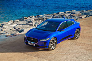 Обои Jaguar Синих 2018 I-Pace EV400 AWD S Worldwide машины