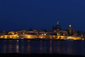 Обои Мальта Дома Реки Ночь Города картинки