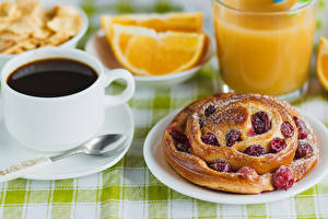 Картинки Выпечка Кофе Пирог Тарелке Чашка Продукты питания