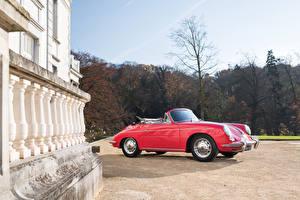 Обои Porsche Винтаж Кабриолет Красный Металлик 1963-65 356C 1600 Cabriolet Авто