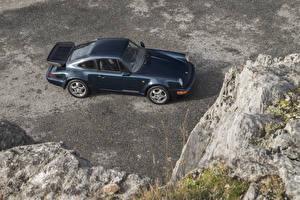 Обои Porsche Винтаж Синий Металлик Сверху 1990-92 911 Turbo 3.3 Coupe Автомобили