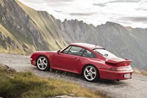 Картинки Porsche Винтаж Красный Металлик 1995-98 911 Turbo 3.6 Coupe Авто