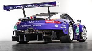 Обои Porsche Тюнинг Сзади Фиолетовый Белый фон 2018 911 RSR Автомобили картинки