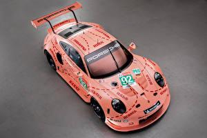 Фотография Porsche Тюнинг Серый фон Розовый Сверху 2018 911 RSR Автомобили