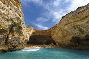 Обои Португалия Скала Algarve Природа картинки