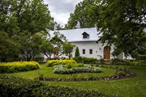 Фото Россия Москва Здания Монастырь Ландшафтный дизайн Кустов Novodevichy monastery Города