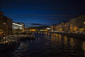 Фотографии Россия Санкт-Петербург Здания Пирсы Водный канал Ночные Nevsky prospect