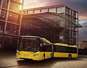 Фотография Сканиа Автобус Желтый 2012-18 Citywide LFA Автомобили