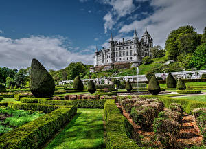 Обои Шотландия Замки Сады Кусты Дизайн Dunrobin Castle Golspie Города
