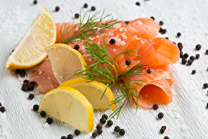 Картинки Морепродукты Рыба Лимоны Укроп Перец чёрный