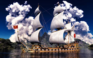 Фотография Корабли Парусные Облака 3D Графика