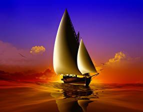 Обои Корабли Парусные Море