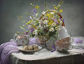Картинка Натюрморт Ромашки Сладости Стол Корзина Чашка Цветы