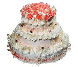 Фотографии Сладости Торты Розы Белый фон Дизайн Пища