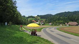 Картинки Швейцария Здания Дороги Леса Трава Lutzelfluh