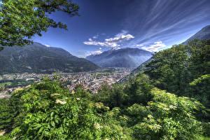Фотографии Швейцария Горы Здания Bellinzona Природа